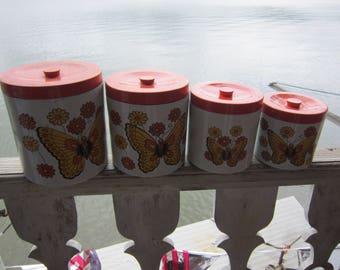 nesting cannister set butterflies japan vintage cannister set