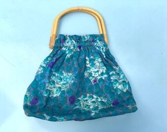 Vintage 50s Bamboo Handled Teal and Purple Floral Fabric Handbag