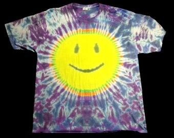 XL Smiley Face Tie Dye Tee, Beach Wear, Festival Wear, Hippie shirt,  *Free U.S. Shipping*