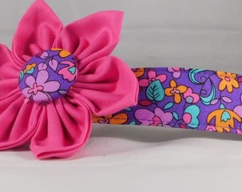 Dog Collar with Flower - Garden Violet - All Sizes