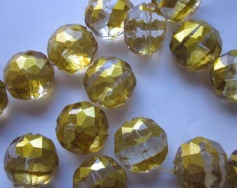 Yellow and Clear Acrylic Beads 19x11mm 14 Beads