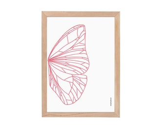 Butterfly Wing Poster / A3 / Abstract Butterfly Wall Art / Butterfly Decor / Illustration / Pink  / Poster / Insect Art / Home Decor