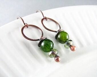 Wire Wrapped Earrings Green Agate Earrings Copper Earrings Wire Wrapped Jewelry Copper Wire Wrap Boho Chic Copper Jewelry Agate Jewelry