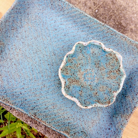 Tray and bowl, sushi set, turquoise sushi platter, small platter, speckled stoneware, ceramic snack set, pottery platter, rectangle tray
