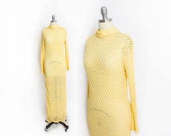 Vintage 1970s Dress - Sheer Yellow Crochet Knit Spider Web Boho Maxi Dress - Small - Medium