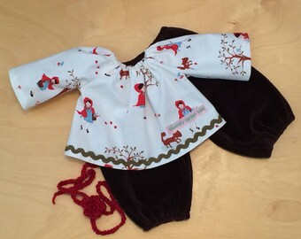 Doll Clothing Waldorf Doll Top and Velveteen Pants Outfit for 16-inch Waldorf Doll