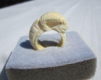 Aries Ram Carved Bone Ring / Zodiac Ring