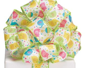 """Ribbon by the yard,1.5"""" ZANY ZOODLES ELEPHANTS, Children, Use for a Baby Gift, Shower, Any Season, Wreath making, Arrangement, Scrap-booking"""