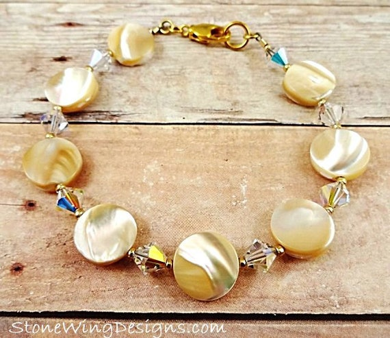 Mother of Pearl and Swarovski Crystal Bracelet