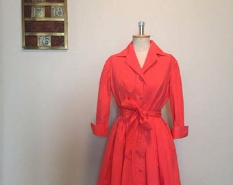 ON SALE Vintage 50s coral pink shirtwaist dress