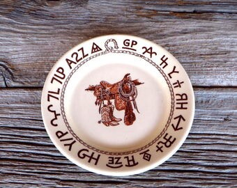 Wallace China Westward Ho Boots and Saddle 7 1/4 Inch Plate Western Cowboy Kitchen Western Dinnerware Southwest Home Decor