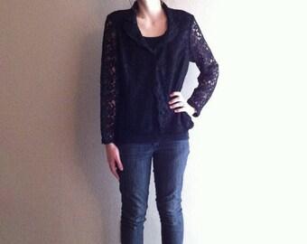 SALE Vintage black lace jacket- small medium- ON SALE