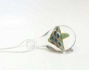 JUMBO Ready to Ship Glass Mushroom Pendant