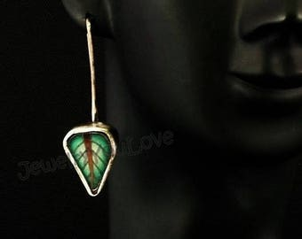 Sterling Silver/ Polymer Clay Leaf Earrings - Green