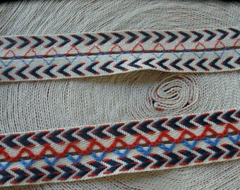 "22MM Red Blue and Natural Jacquard ribbon 7/8"" trim Chevron boho embellishment BTY yardage costume edging insert"