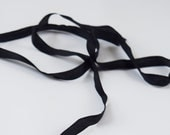 Two Yards Black Silk Ribbon - Narrow 100% Silk Ribbon