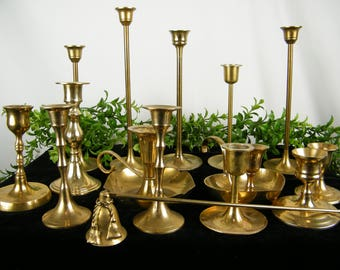 Brass Candlesticks - Vintage Candle Holders - Holiday Table Centerpiece - OOAK set of 14 Plus Free Candle Snuffer - Vintage Wedding Decor