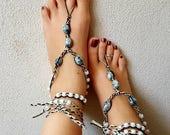 OSFA Hemp Barefoot Sandals Hippie Jewelry Festival Beach Wedding Accessories Handmade Boho Sandals Gypsy Earthing Soleless Shoes Grey Glass