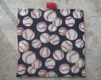 Baseball on Navy Blue  Reusable Sandwich Bag, Reusable Snack Bag with easy open tabs