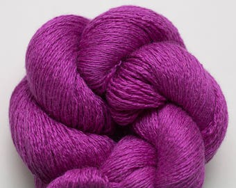 Vibrant Violet Fuschia Magenta Silk Cashmere Lace Weight Recycled Yarn, SCH00269