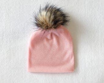 Dusty Pink Faux Fur Pom slouchy beanie