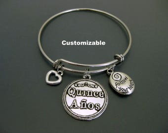 15th Birthday Bangle / Quinceañera Bracelet Bangle / Charm Bracelet / Adjustable Bangle / Expandable Bracelet / Fiesta de Quince Años
