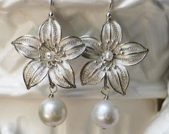 Sterling silver and Pearl Drop earrings- Vintage/ Antique Filigree- Large freshwater white pearl dangle- assemblage jewelry
