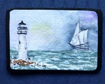 Micro-mini Original Painting - clipper ships on the ocean-Boston Lighthouse