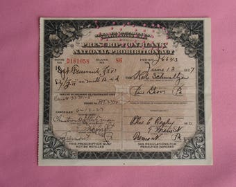 Vintage Prohibition Whiskey Prescription Pharmacy Medical Alcohol Whiskey in Milk for Kate Tremont Pa 6/12/1927 Speakeasy