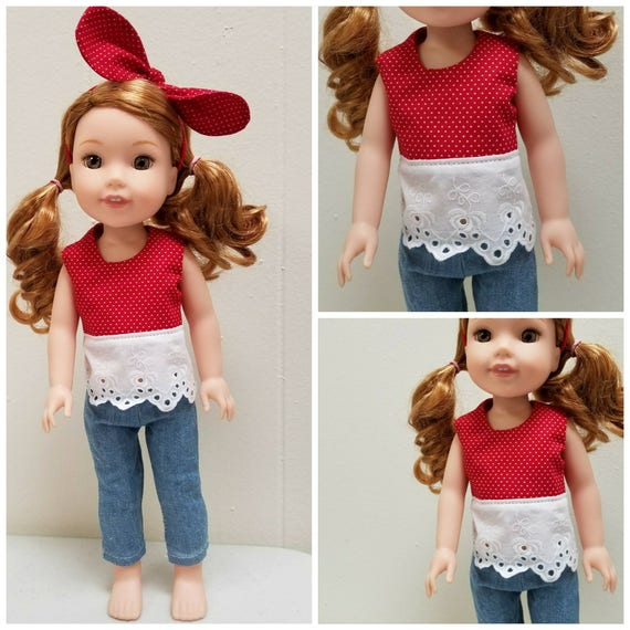 Top, Pants and Headband  for 14.5 Wellie Wisher  inch Dolls