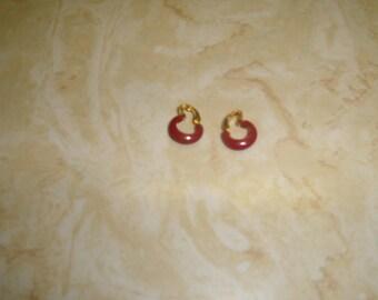 vintage clip on earrings goldtone tiny red enamel hoops