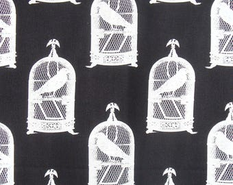 Michael Miller Nevermore Fabric, Halloween Fabric, Edgar Allen Poe, Goth Fabric, Birdcages, Jackdaws, By the Yard, Cottton Fabric