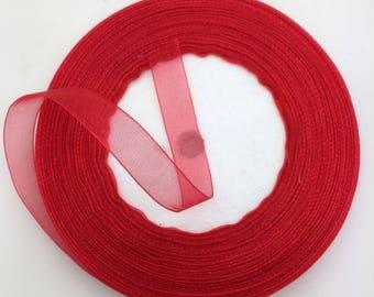 "Red Organza Ribbon-3/8""-5 yds or 10 yds"