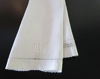 Victorian Linen Hand Towel B Monogram Crochet Variety Cording Trim 18 by 40 Inches 454b