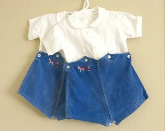 2 Vintage Boy's Rompers for Twins Blue Cordoroy Shorts White Cotton Shirt Size 2 849b