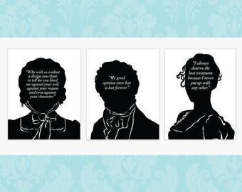 SALE - Three Book Lovers Prints Of Your Choice - Jane Austen - Jane Eyre - Wuthering Heights - Quote Print - Literary Wall Art -