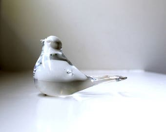 Scandinavian Modern Crystal Art Glass Bird Sculpture Figurine Mid Century Decor Handmade Paperweight