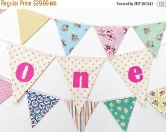 ON SALE Baby Girl One Year Banner, First Birthday Bunting, Fabric banner (set of 3) - Ready to ship