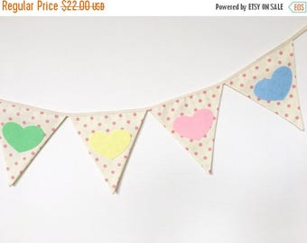 ON SALE NEW Pastel Hearts Baby Bunting, Fabric Banners, Pompoms Garland, Pink, Yellow, Green and Blue Shade - 4.5 ft