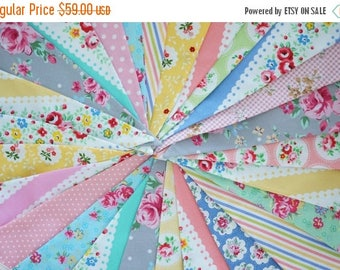 ON SALE Shabby Chic Fabric Banners, Bunting, Garland, Wedding Bunting, Pennants, Flags - 25 ft (extra long)