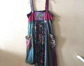 Upcycled Boho Gypsy tank dress, Patchwork T-shirts Casual Summer Dress,