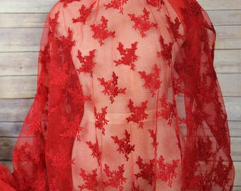 Red Lace Embroidered Flower Fabric design with scalloped edges-Special Occasion-Valentine's Day-Wraps-Masquerade Ball-Overlay for Dresses
