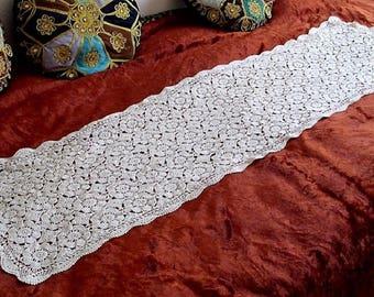 Vintage Crochet dresser scarves-doilies -table runner