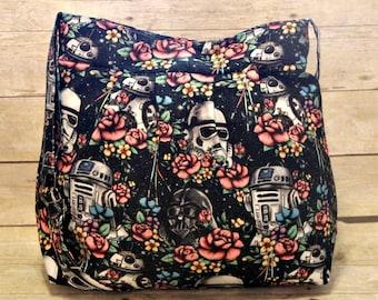 Floral Wars Extra Large Pleated Diaper Bag, Extra Large Diaper Bag, Cloth Diaper Bag, Extra Large Handbag, Crossbody Bag, Space Diaper Bag