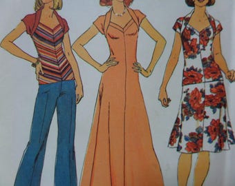 SWEETHEART MAXI DRESS Pattern • Simplicity 7267 • Miss 10 • Wrapped Collar Top • Elastic Skirt Pattern • Vintage Patterns • WhiletheCatNaps