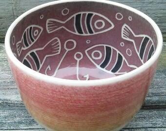Red Fish Sgraffito on Thrown Porcelain Bowl *Free Shipping*