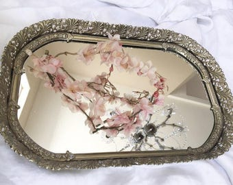 Vintage Sweet Filagree Ornate Mirror Vanity Tray
