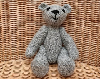 "9"" Handmade Traditional Grey Teddy Bear Hand Knitted Bear Old Fashioned Vintage Style Light Grey Bear Hand Knitted Teddy Bear"
