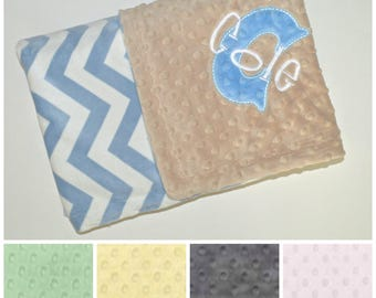 SALE Monogrammed Baby Blanket -  Chevron Minky Light Blue Personalized - Boy blanket with name Newborn, Tan, Yellow, charcoal, Green