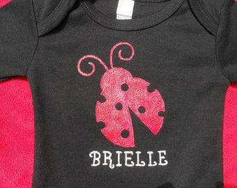 Lady Bug Black Onesie, Long or Short Sleeve Onesie,Baby Girl Shower Gift,Lady Bug Baby Shower Gift,Personalized Lady Bug, Love Bug Bodysuit
